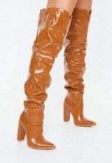 MISSGUIDED tan block heel faux leather thigh high boots ~ light-brown slouchy boots