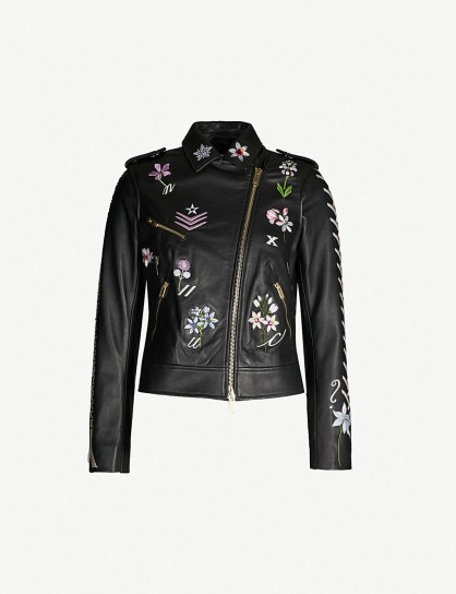 TEMPERLEY LONDON Ryder embroidered black leather jacket ~ luxe floral biker
