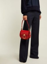CHLOÉ Tess small red leather and suede cross-body bag