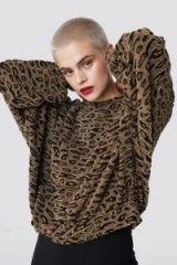 NA-KD Trend Textured Leopard Top Brown | animal print tops