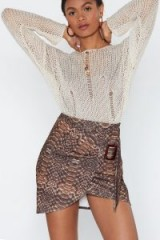 NASTY GAL The Joke's Pyth-on You Snake Skirt in Brown – buckled wrap style mini