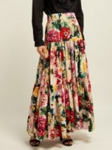 DOLCE & GABBANA Tiered floral-print cotton maxi skirt