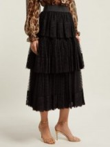 DOLCE & GABBANA Tiered black tulle and lace midi skirt ~ beautiful Italian clothing