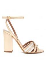 TABITHA SIMMONS Toni block-heel metallic-gold and silver leather sandals