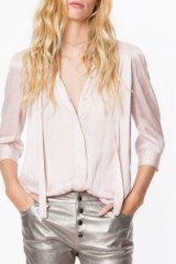 ZADIG & VOLTAIRE CHEMISE TOUCH SATIN in pink ~ luxe shirts