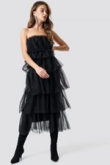 NA-KD Party Tulle Layered Midi Dress Black