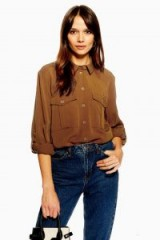 Topshop Utility Double Pocket Shirt in tobacco | brown shirts