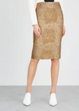 VALENTINO Gold floral-brocade pencil skirt / luxury metallic thread skirts