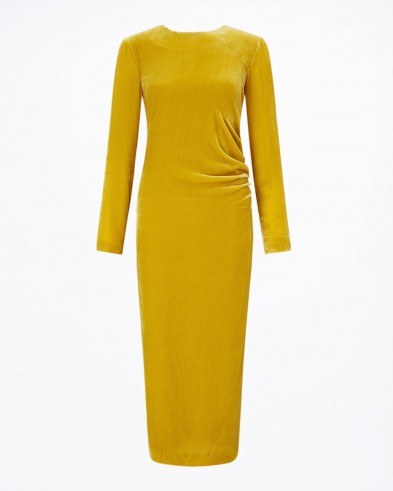 Jigsaw VELVET RUCHED MIDI DRESS – sunflower / yellow occasion dresses