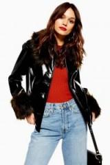 TOPSHOP Vinyl Faux Fur Trim Coat in Black / high-shine jackets