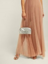 JIMMY CHOO Vivien silver metallic-leather clutch ~ event glamour