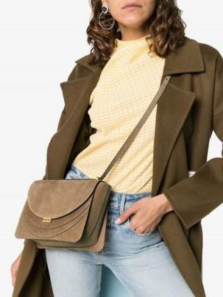 Wandler Camel Brown Luna Corduroy Shoulder Bag   textured handbags