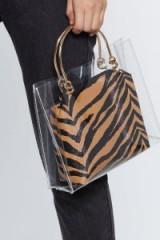 NASTY GAL Clear Goals Tiger Bag in Tan – brown animal print bags