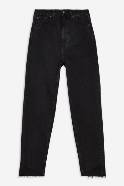 Topshop Washed Black Asymmetric Hem Jeans – tapered leg mom jean