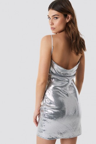 Linn Ahlborg x NA-KD Waterfall Back Dress Silver ~ strappy metallic slip dress