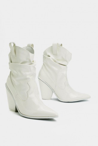 NASTY GAL West-Case Scenario Faux Leather Boot in White – western ankle boots