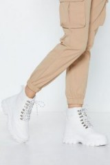 NASTY GAL what a Chunk Hiker Boot in White – cleated chunky soled boots