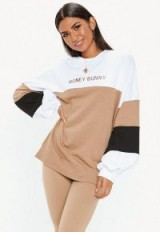 MISSGUIDED white colour block honey bunny sweatshirt – shades of brown fashion