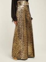 SARA BATTAGLIA Wide-leg leopard-lamé trousers in gold ~ glamorous style statement