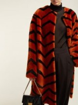 GIVENCHY Zigzag shearling coat in orange ~ winter luxe