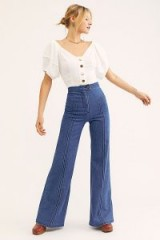 Stoned Immaculate Annie Flares in 70s Blue | retro denim