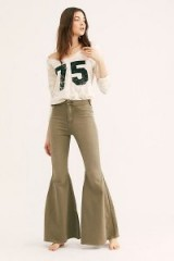 We The Free Just Float On Flare Jeans in Army | extreme khaki denim flares