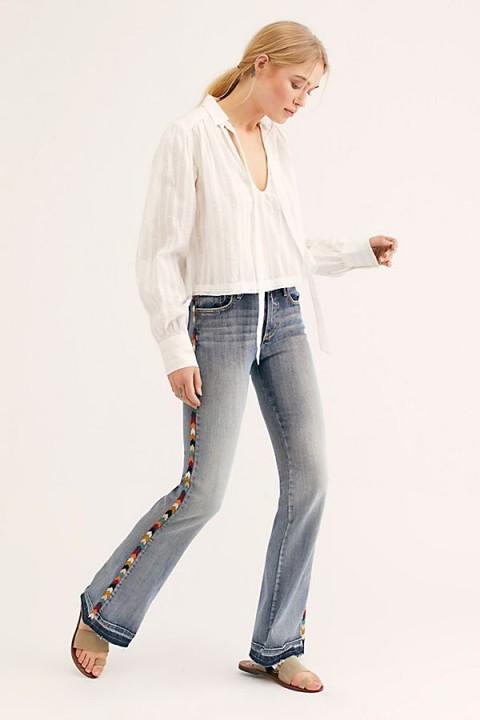 Driftwood Isabel Embroidered Flare Jeans in Archer | boho denim flares