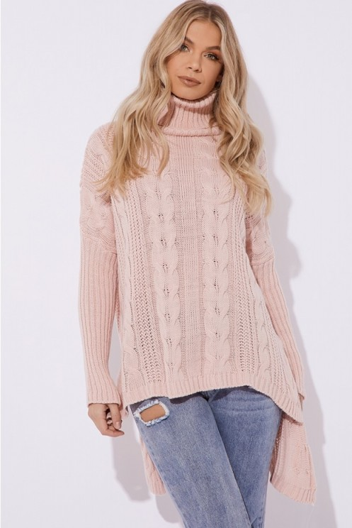 IN THE STYLE ABILYNE PINK CABLE KNIT OVERSIZED JUMPER ~ slouchy high neck sweater ~ casual weekend look