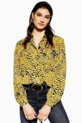 TOPSHOP Abstract Animal Shirt in Mustard / yellow animal prints