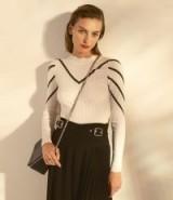 KAREN MILLEN Abstract Stripe Jumper in Ivory ~ chic monochrome knitwear
