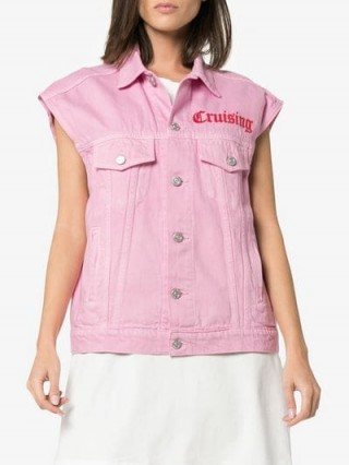 Adaptation Sleeveless Embroidered Detail Pink Denim Jacket