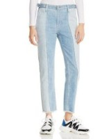 AG Isabelle Paneled Straight Jeans in Infamous ~ colour block denim