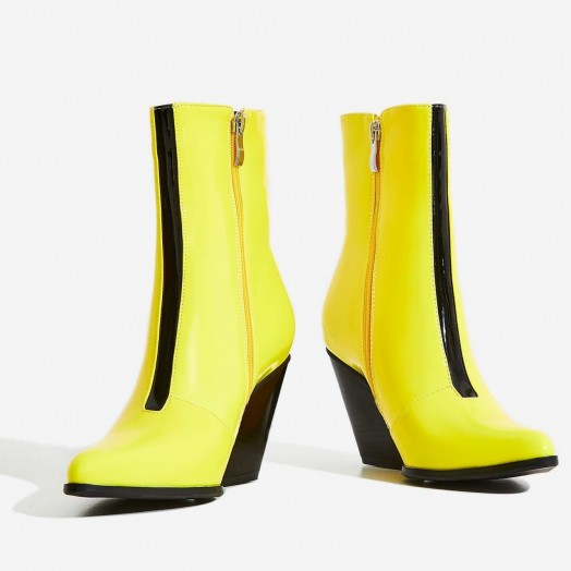EGO Alba Western Ankle Boot In Yellow Patent – GLOSSY COWBOY BOOTS