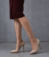 REISS ALBERTA SUEDE COURT SHOES NUDE ~ point toe high heel courts