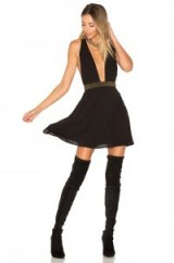 ale by alessandra x REVOLVE Iria Embellished Dress in Black | deep plunge beaded fit and flare
