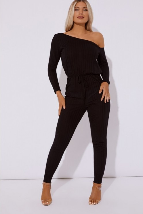IN THE STYLE ALEAHA BLACK RIBBED OFF SHOULDER JUMPSUIT – EVENING GLAMOUR