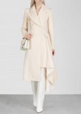 ALEXANDER MCQUEEN Porcelain draped wool-blend coat ~ chic asymmetric outerwear