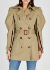 ALEXANDER MCQUEEN Taupe cape-back gabardine trench coat ~ feminine structured coats
