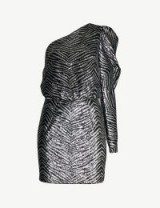 ALEXANDRE VAUTHIER Striped sequinned mini dress in silver. DESIGNER ONE SLEEVE PARTY FASHION
