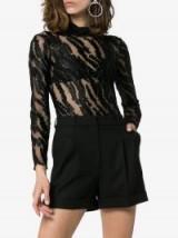 Alexia Hentsch High Neck Metallic Tiger Stripe Mesh Bodysuit in Black – sheer animal print bodysuits