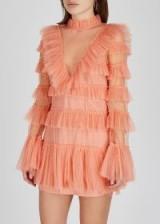 ALICE MCCALL Zen ruffle-trimmed mesh mini dress – feminine occasion dresses – semi-sheer fabrics