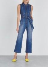 ALICE + OLIVIA Gorgeous kick-flared denim jumpsuit | blue sleeveless crop leg jumpsuits