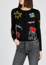 ALICE + OLIVIA Keith Haring X AO Ruthy black wool-blend cardigan ~ embroidered and embellished cardigans ~ modern-classics