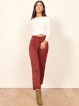 Reformation Alicia Pant in Rust | cropped button fly pants