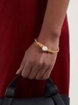 ACNE STUDIOS Amaly pearl-embellished bangle ~ gold-tone bangles