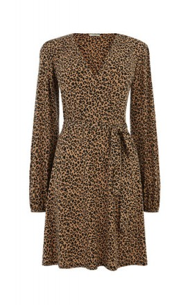 OASIS ANIMAL WRAP DRESS / wild cat prints