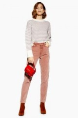 TOPSHOP Antique Pink Corduroy Mom Jeans – high rise cord trousers