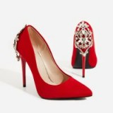 EGO Aries Jewel Embellished Court Heel In Red Faux Suede | party heels