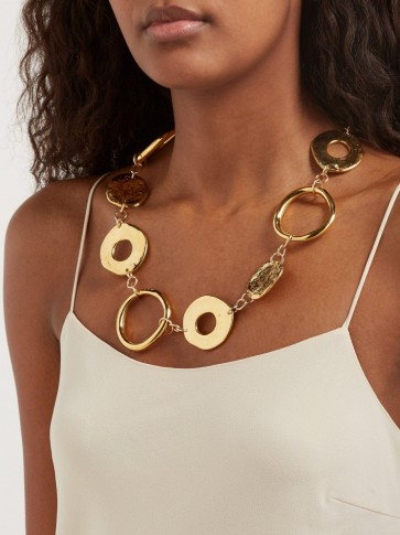 SONIA BOYAJIAN Arpchain gold-plated pendant necklace ~ hammered disc statement jewellery
