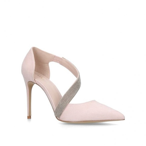 CARVELA ARTEMIDIS Nude Embellished Stiletto Heeled Courts ~ asymmetric party heels